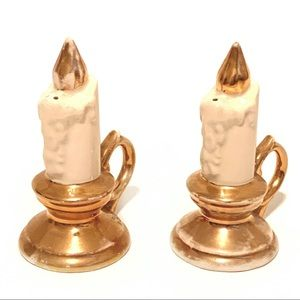 Vintage Candlestick Shaped Salt & Pepper Shakers
